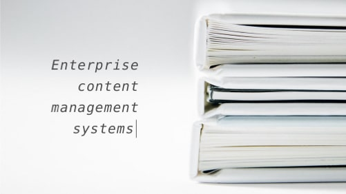 Enterprise CMS represented as a stack of doc files