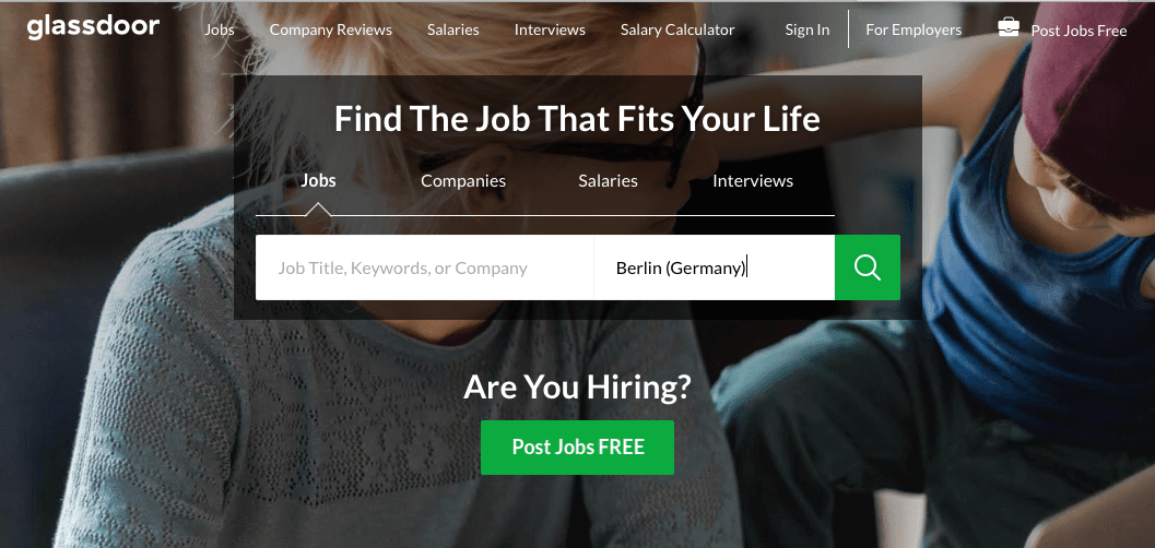 screenshot of Glassdoor Jobs website